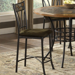 "Bernards - Rock Wood / Stone Barstool (Set of 4) (Set of 4) - Features: -Matching black metal barstool. -Inlay stone in the back and a comfortable upholstered seat. -Dimensions: 40"" H x 18"" W x 20"" D."