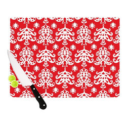 """Kess InHouse - Miranda Mol """"Ornate Trees Red"""" White Holiday Cutting Board (11.5"""" x 15.75"""") - These sturdy tempered glass cutting boards will make everything you chop look like a Dutch painting. Perfect the art of cooking with your KESS InHouse unique art cutting board. Go for patterns or painted, either way this non-skid, dishwasher safe cutting board is perfect for preparing any artistic dinner or serving. Cut, chop, serve or frame, all of these unique cutting boards are gorgeous."""