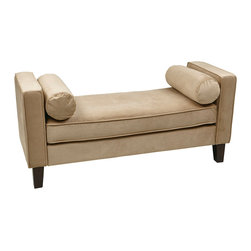 Office Star - Office Star Avenue Six Curves Bench in Coffee Velvet - The curves bench transitional design easily fits into any home decor. This functional bench is the perfect accent addition to any home.