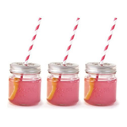 Dress My Cupcake - Vintage Glass Mason Jar Sipper with Flower Lid - There is little more relaxing than a cold drink from a mason jar on a warm summer afternoon! Theses sturdy yet attractive mason jars will surely bring the calm of the countryside and the cool breeze of a porch swing to your next soiree! Glass comes with a flower design decorative lid, for a traditional countryside charm. Try it for sparkling punch, sweet tea, fresh mineral water or any thirst quencher of your choice. Even the tidy hostess will appreciate a refreshing beverage from these charming mason jars.