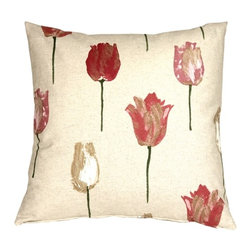 Pillow Decor - Pillow Decor - Albany Tulips 22 x 22 Throw Pillow - Add a floral touch to your decor with the beautiful Albany Tulips 22 x 22 Throw Pillow. The tulips are in full bloom in pink, rose and sand tones on Green stems. The flowers appear to be painted onto the speckled cream background with bold brush strokes, giving life to this fresh and adorable pillow. The print design is on the front and the back of the pillow which is finished with a color matched hidden zipped. Combine it with the Albany Stripes and Albany Checks pillows to create a wonderful collection in your home. This feminine collection will look amazing in your decor.