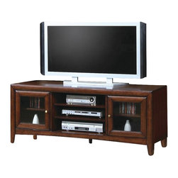 Coaster - Madison TV Cabinet - Casual style. Two wood framed glass drawers. Shelves behind doors. Three open center compartments. Simple tapered post feet. Brass look knobs. Made from hardwood solids and maple veneers. Walnut finish. 59 in. W x 20 in. D x 23 in. H. WarrantyTraditionally refined, this classy TV stand offers classic design for your entertainment and living rooms. A spacious top provides room for placing your HD television, while lower storage makes it easy to organize media components and accessories. Simple with just the right essentials, this TV stand offers just what you need.