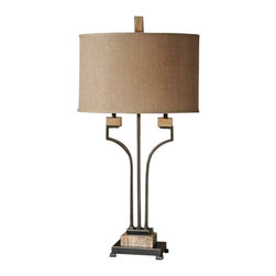 Uttermost Larimer Rustic Bronze Table Lamp - Distressed rustic bronze metal with gold highlights and polished marble details. Distressed rustic bronze metal with gold highlights and polished marble details. The oval hardback shade is a burlap linen fabric with natural slubbing.
