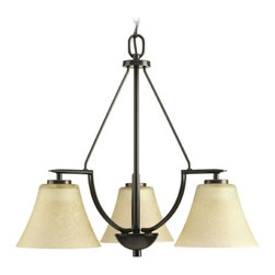 Progress Chandelier with Brown Glass in Antique Bronze Finish -