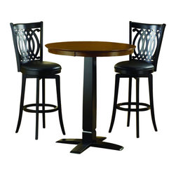 Hillsdale - Hillsdale Dynamic Designs 3 Piece Pub Table Set with Van Drau's Stools - Hillsdale - Pub Sets - 4975PTBBLKS2VD - The Dynamic Designs Pub Table Set is sleek and contemporary with a casual style that will fit in anywhere. The pub table has a pedestal base with a squared tapering center column. With its warm finish and intricately designed chairs this pub table set is sure to be the focal point of the family room kitchen or den.