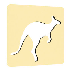 """NUMI NUMI Design LLC - The Athlete, California - A modern feature to any child's room, this unusual kangaroo wall décor is made of 5/8"""" highly durable NAUF (no added urea formaldehyde) MDF and finished with Nevamar GREENGAURD certified laminate. Hanging hardware included."""