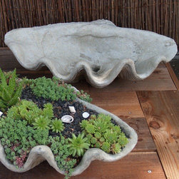 Half Shell Planter in Cast Stone Pots - This planter is ingenious. I love the idea of planting succulents and accenting with shells, like in the picture. This would look great on the ground or on a side table. It would also look great as a bird bath. So many different uses.