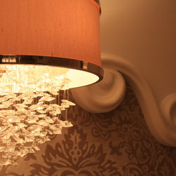 Lights in our projects - Beautiful crystal shade pendant light to accent the custom designed stucco details and wallpaper