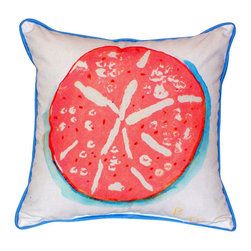 Betsy Drake - Betsy Drake Coral Sand Dollar Pillow- Indoor/Outdoor - Coral Sand Dollar Pillow- Large indoor/outdoor pillow. These versatile pillows are equal at enhancing your homes seaside decor and adding coastal charm to an outdoor setting arrangment. They feature printed outdoor, fade resistant fabric for years of wear and enjoyment. Solid back, polyfill. Proudly made in the USA.