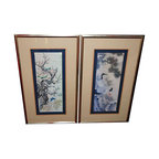 Used Vintage Asian Fine Art Prints with Cranes - A Pair - A set of vintage Asian inspired fine art prints. Regal cranes and delicate bluebirds are depicted as part of the subject matter. The prints are triple matted and framed in nicely distressed frames. The works have maintained the original colors and do not appear faded. The backs have been re-papered and are ready to hang.  This is a beautiful set, originating from Orleans company, Chicago, a retailer in fine art prints.