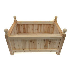 "Master Garden Products - Estate Cedar Wood Rectangle Planter, 72"" - Our estate rectangular cedar wood planter is constructed with a combination of traditional mortise and tendon which locks the bolts and nuts together and anchors all eight corners of the planter in place - ideal for supporting heavy material.  Square dados are cut into the frames while the tongue and groove wall panels are inserted into the ""U"" channel. All joints are glued and pressed to dry overnight. We use natural rot resistant northern white cedar wood to build our Estate line of wood planters."