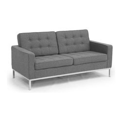 Kardiel Florence Knoll Style Loveseat, Cadet Grey Tweed Cashmere Wool - The Florence Knoll Sofa, Chair and Loveseat is a design icon. The original design was conceived in 1956 by Florence Knoll, a world class architect and designer. It is a relatively simple design as it was originally meant to complement the classic innovations of Saarinen and Bertoia. The Knoll philosophy of furniture design solves practical and aesthetic design problems. The philosophy results in minimalist beauty, lasting durability and luxurious comfort in one complete package. It is well known that Knoll studied and collaborated with Mies Van Der Rohe. Knoll designed the classic trio using a durable stainless steel frame with minimal materials. Cubic cushions featuring compressed buttons in a purposeful and logical layout provide style and comfort to the supporting thin armed, minimalist frame. Do you notice the similarities in design philosophy to the Mies Van der Rohe's Barcelona Chair? The Knoll Sofa, Love and Chair is becoming even more popular as its minimalist yet functional de