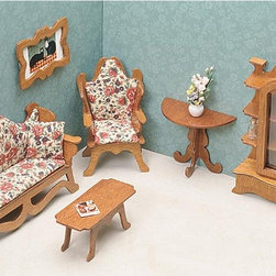 Greenleaf - Greenleaf Living Room Furniture Kit Set - 1 Inch Scale - 7203 - Shop for Craft Kits from Hayneedle.com! Lay the perfect backdrop for afternoon conversation or family gatherings with the Greenleaf Living Room Furniture Kit Set - 1 Inch Scale. A comfortable chair and stylish couch form a lovely seating arrangement while coordinating pieces such as a coffee table side table and storage hutch tie the space together. Complete the look with a decorative picture frame to turn your dollhouse into a home! This furniture set comes unassembled and without stain. All furniture pieces are 1-inch scale. About GreenleafEstablished in 1947 Greenleaf Steel Rule Die Corp is a leading manufacturer of all-wood dollhouse kits furnishings and accessories. Located in Schenevus N.Y. Greenleaf is acknowledged by many in the miniatures industry for its outstanding design and superior quality. Greenleaf wooden dollhouse kits are an ideal project for collectors or families who want to create lasting keepsakes.