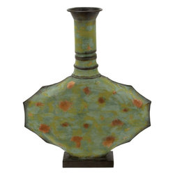 Benzara - Metal Vase Green with Timeless Design - Resting on a flat wooden base, this 21 in. H Contemporary Metal Vase Green with Timeless Design will fill your eye with its beautiful design. Keep lilies, orchids in this super fine vase to add to the overall look and utility. You can rest it above your fireplace in your living room or put it at your bedside table, it is sure to offer you a fresh feel every time you look at it. Place it wherever you want in your room, this green metal vase will catch the eye and attention of your guests. This charming green metal vase adds a whole lot of style to your home decor. Perfect to be kept against bright interiors, this awesome green metal vase in an oval shape has a combination of gold and rustic dots on the sea green base. Featuring fine quality metal construction, you are assured of its durability, and long lasting use..
