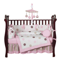 Sweet Jojo Designs - Pink & Chocolate Mod Dots 9 Piece Crib Bedding Set - The Mod Dots - Pink 9 Piece Crib Bedding Set is just one of the crib bedding sets we offer from Sweet Jojo Designs. The 9-Piece baby bedding set includes a crib blanket, fitted crib sheet, crib bumper pads, crib skirt (dust ruffle), diaper stacker, toy bag, decorative pillow, and two window valances. This baby girl crib bedding set will make any girl's room feel special!