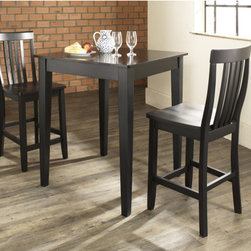 """Crosley - Three Piece Pub Dining Set with Tapered Leg Table and Barstools in Black - Features: -Set includes pub table and two barstools. -Hand rubbed multi-step black finish. -Constructed of solid hardwood and wood veneers. -School house style barstool with shaped back for comfort. -Table has tapered legs. -ISTA 3A certified. -Assembly required. -Manufacturer provides a 3 month warranty against defects in material and workmanship. Specifications: -Seat height: 24"""". -Barstool dimensions: 40"""" H x 18.5"""" W x 22.5"""" D. -Pub table dimensions: 36"""" H x 32"""" W x 32"""" D."""