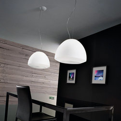 AXO Light - AXO Light | Kudlik 35 Suspension Light - Design by Manuel Vivian, 2011.Kudlik 35 Suspension Light from Axo Light, features a white acid-etched blown glass shade with white varnished metal support.