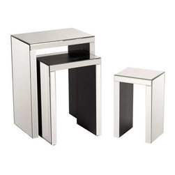 Howard Elliott Lyra Accent Nesting Tables - This set of 3 mirrored nesting accent tables are not only gorgeous, but functional and would make the perfect addition to any decor.