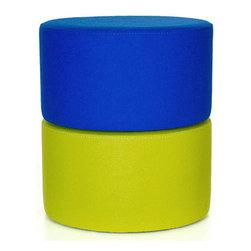B&T Design - Roller Stool, Blue/Lime Green - Roller Stool