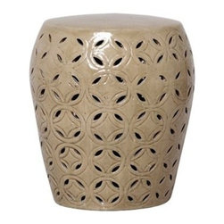 Emissary - Large Lattice Garden Stool-Blue, Taupe - This gorgeous garden stool is perfect for use as a side table or as an outdoor patio accessory. Alternatively, it can even be used as a seat or a table top base.