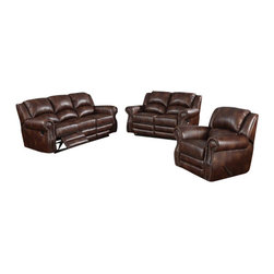"ACPFulton - 2 pc Fulton brown bonded leather upholstered sofa and love seat set - 2 pc Fulton brown bonded leather upholstered sofa and love seat set with recliners on the ends. This set features the sofa and love seat both with a recliner on each end of the piece. sofa measures 90"" x 38"" x 40"".  love seat measures 67"" x 38"" x 40""  .  Optional single recliner chair also available separately at additional cost and measures 43"" x 38"" x 40"" . Some assembly required."