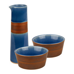Waechtersbach - Pure Nature Blue Oil & Vinegar Dipping Set - You already show you care by serving salads and fresh veggies. Now, augment the experience with this oil and vinegar dipping set. Crafted from natural materials, it features a two-tone effect of craquelure and hand-painting.