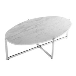 #N/A - Lucerne Coffee Table - Lucerne Coffee Table. Stainless steel and carrera style marble