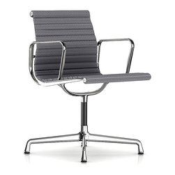 Herman Miller - Herman Miller Eames Aluminum Side Chair with Arms, Fabric - Put your guests in the hot seat with the cool, retro vibe of this side chair. It's clad in supple leather that works just as wonderfully in the home office as it does in the boardroom. Originally created by the iconic design team of Charles and Ray Eames, it bears all the hallmarks of their unmistakable ethos.