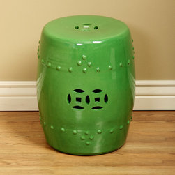 Spring Green Porcelain Stool - This spring green Chinese garden stool would add a great pop of green to your home. It would be perfect as a side table in a bedroom, living room, family room or patio.