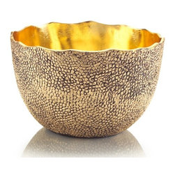 Our Collection - Original Large Textured Metal Bowl/Centerpiece with Aged Gold Finish - Large Textured Metal Bowl/Centerpiece with an aged gold finish and painted gold patina inside.