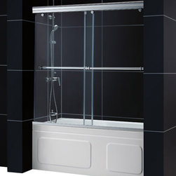 DreamLine - DreamLine SHDR-1360588-04 Charisma 56 to 60in Frameless Bypass Sliding Tub Door, - The Charisma tub door has a unique  in.no wall profile in. design, combining the beauty of frameless glass with the convenience the sliding bypass operation. Most bypass shower doors require significant aluminum framing. Lose the aluminum and discover the sleek look of a frameless sliding bypass glass design. 56 - 60 in. W x 58 in. H ,  5/16 (8 mm) clear tempered glass,  Chrome or Brushed Nickel hardware finish,  Frameless glass design,  Width installation adjustability: 56 - 60 in.,  Out-of-plumb installation adjustability: No,  2-panel frameless sliding (bypass) shower door,  Convenient towel bars,  Unique  in.no-wall profile in. design creates frameless look,  Anodized aluminum guide rails,  Door opening: 25 - 29 in.,  Stationary panel: 30 3/4 in., Aluminum
