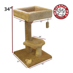 "Majestic Pet - 34"" Kitty Cat Perch - Features: -Covered in designer carpet with a sisal rope wrapped post that will withstand the toughest claws.-Features a nest for climbing to the top cat tree perch.-Offers a dangly toy for your cat or kitten to play with.-Assembles in minutes with simple step by step instructions.-Cleans easily with a vacuum and damp cloth.-Distressed: No.-Country of Manufacture: United States.Dimensions: -Dimensions: Height 34 inches.-Overall Height - Top to Bottom: 34.-Overall Product Weight: 27 lbs."