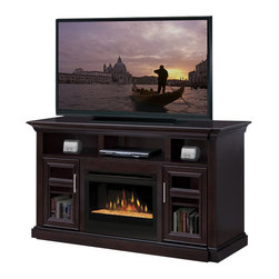 Dimplex - Dimplex Bailey Electric Fireplace Entertainment Center in Espresso - Dimplex - TV Stands - GDS25G1242E - This entertainment center has traditional styling for a perfect backdrop to todays high tech entertainment equipment. Wire passageways allow for interconnection of components with the added benefit of providing ample storage behind the firebox for excess wire and power bar concealment. The rich espresso complements the fluted pilasters as they are set back from the face to provide character while drawing in your attention into the Dimplex patented life-like flame. Light shines and reflects off the asymmetrical-sized glass pieces creating an effect that is as alluring as it is contemporary.