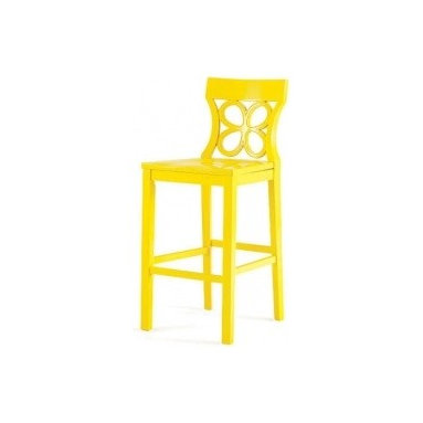 "Eco Friendly Furniture and Lighting - ""Very beachy and summery,"" says Gambrel, noting the color's name: sunshine yellow. (It also comes in white.) ""Barstools are often used by the kids in the family, so this could go in a zippy breakfast room."
