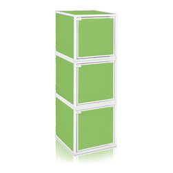 Way Basics - Way Basics 3 Box Storage Cube Stackable, Green - Box will easily stack, connect and align to create your perfect organizer! Form a 3-tiered nightstand or a side by side double cubby and accessorize with a door to hide that inevitable clutter. The simple, modern design of the Bo will complement and adorn any room.