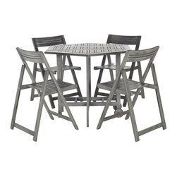 Safavieh - Kerman Table And 4 Chairs - Stack the odds for carefree outdoor living in your favor with the ingenious Kerman dining table and chair set. Crafted of eco-friendly grey-washed acacia wood, 4 director-style chairs fold and tuck under a foldable hexagonal table for easy storage.