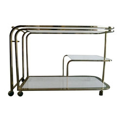 Pre-owned Milo Baughman for DIA Bar Cart - Absolutely stunning!  This Hollywood Regency style bar cart was designed by Milo Baughman for Design Institute of America.  It has two pieces that lock together or can extend to approximately 7 feet long.  The glass is in good condition and the brass has 2 flaws, which are pictured.