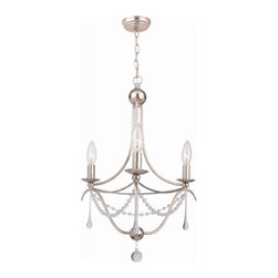 Crystorama - Crystorama 423-SA Metro Ii 3 Light Mini Chandeliers in Antique Silver - We have updated our METRO II design by featuring cleaner lines by using a string of glass beads and elongated oyster drops. The sleep antique silver metal adds a richness and elegance in any room of your home.