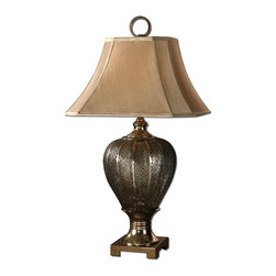 Antique Silver Pierced Metal Table Lamp - *Pierced metal work finished in antiqued silver champagne.