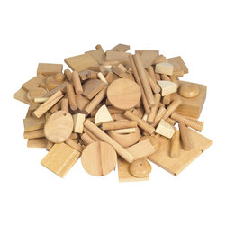 Guidecraft - Guidecraft Mixed Hardwood Vari-Design Wood - Guidecraft - Educational Toys - G401A - Exciting variety of wood shapes and sizes provide endless opportunities for creative expression: sort color build match glue sand and nail.