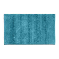 None - Westport Stripe Sea Glass 24 x 40 Bath Rug - Classic and comfortable,the Westport Stripe bath collection adds instant luxury to the bathroom,shower room or spa. Machine-washable,always plush nylon holds up to wear,while the non-skid latex makes sure the rug stays in place.