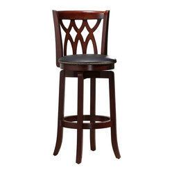 Boraam - Boraam Cathedral 29 in. Swivel Bar Stool - Dark Cherry Multicolor - 40329 - Shop for Stools from Hayneedle.com! The Boraam Cathedral 29 in. Swivel Bar Stool - Dark Cherry is rich with elegant features and workmanship yet it would fit comfortably in the most casual rec room. This magnificent work of sculpted hardwood features a dark cherry finish with a cathedral window seat back and gracefully curved tapered French style legs. There's a full foot ring for added strength stability and comfort. We like the nailhead accents around the thickly padded circular black faux leather seat bar-height to fit the most contemporary furniture. Steel ball-bearing swivel moves easily and silently. Foot protectors won't marr up flooring. Backed by a one year manufacturer's warranty. Assembles easily. Stool dimensions: 18W x 22D x 43.5H inches seat height 29 inches. Please note: This item is not intended for commercial use. Warranty applies to residential use only.About Boraam IndustriesThis product is manufactured by Boraam Industries. With many years of experience in the furniture industry Boraam is committed to providing well-styled top-quality home furnishings and furniture at reasonable prices. Based in Mundelein Ill. Boraam has its own tropical hardwood production facilities in and outside the USA.