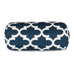 Majestic Home Goods - Navy Trellis Round Bolster Pillow - Add a splash of color and a little texture to any room with these plush pillows by Majestic Home Goods. The Majestic Home Goods round bolster pillow will instantly lend a comfortable look to your living room, family room or bedroom. Whether you are using them as decor throw pillows or simply for support, Majestic Home Goods round bolster pillows are the perfect addition to your home. These throw pillows are woven from Cotton Twill, and filled with Super Loft recycled Polyester Fiber Fill for a comfortable but durable look. Spot clean only.