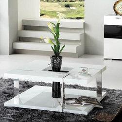 MODERN SQUARE GLOSSY WHITE COFFEE TABLE OSHU - An attractive glossy white Coffee Table Oshu