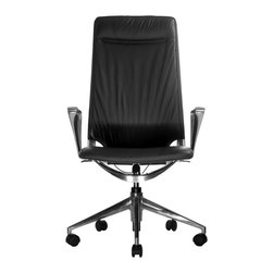 Wobi Office - Wobi Marco II Highback Chair (Fixed Arms) - Step it up a bit in your home office with this luxurious task chair. It has all the key features of a quality desk chair but with added cushioning and sleek leather upholstery. What's not to love?