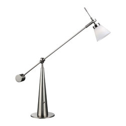 Lite Source - Halogen Desk Lamp - Bulb not included. Requires 40 watt JCD type bulb. Polished steel metal body. Frosted glass shade. On-off base toggle switch. Socket: G9. Shade top: 2 in. Dia.. Shade bottom: 4 in. Dia.. Shade height: 3 in.. Overall: 8 in. W x 28 in. H (11 lbs.). Assembly Instructions