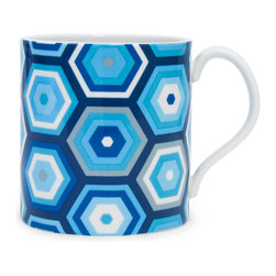 """Jonathan Adler - Jonathan Adler Carnaby Honeycomb Mug Blue - Final Sale - The Jonathan Adler Carnaby Honeycomb coffee mug awakens the kitchen table with mod style. Bright against white porcelain, contemporary blue, white and grey hexagons emit vibrant geometric flair. 4.5""""W x 3.5""""H; High-fired porcelain; Microwave and top rack dishwasher safe"""