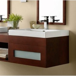 "Ronbow - RONBOW Rebecca 23"" Vanity Sinktop - Ronbow wall mounted vanities have sophisticated design, modern sensibility, and expert craftsmanship. Flexibility is built in so you can customize it to your needs with drawer bridges, shelf bridges, cabinets, and wall fillers. The Rebecca is available in multiple sizes and finishes to meet your needs. Features Includes one 23"" vanity and optional 24"" Sinktop Solid wood construction Soft-close and full extension drawers with dovetail construction Matching finish throughout the interior Matching mirror and medicine cabinet available Matching drawer and shelf bridges available Mirrors hang horizontal or vertical Faucet NOT included in price Pre-drilled for a either single hole faucets or 8"" Widespread faucets Includes mounting hardware for easy installation Wall-Mounting allows variable installation height Ground to top of counter - variable: 31-33"" suggested How to handle your counter Spec Sheet for Vanity Spec Sheet for 24"" Evin Sinktop Spec Sheet for 24"" Larisa Sinktop Spec Sheet for 24"" Prominent Sinktop Spec Sheet for 24"" Glass Tempered Sinktop Spec Sheet for Drawer Bridge Spec Sheet for 24"" Mirror Spec Sheet for 24"" Medicine Cabinet Spec Sheet for 32"" Cabinet Spec Sheet for 55"" Cabinet"