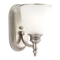 Seagull - Seagull Laurel Leaf - Estate Bronze Bathroom Lighting Fixture - Shown in picture: 41350-965 One Light Wall Sconce in Antique Brushed Nickel finish with Etched Ripple'Glass
