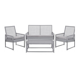 Safavieh - Shawmont Outdoor Set - Beautify your outdoor patios and decks for seasons to come with the contemporary Shawmont 4-piece outdoor set. With clean transitional lines crafted of rattan aluminum for long wear and stability, and comfy cushions covered in matching grey easy-to-clean Terylene fabric that resists stains, mildew and weather. Chic rattan open mesh chair detailing coordinates with wicker weave for textural interest.